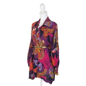 Vintage Purple Tiger Flower Tunic Dress Button Up